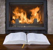 Fireplace with open Bible